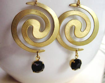 Brass Spiral Earrings, Modern Style, Geometric, Statement Earrings, Black Drop, Everyday Wear, Redpeonycreations