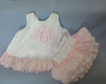 Sassy ruffle White Pinafore Top Lt. Pink ruffle and Sassy Ruffle White Panty lt Pink white ruffles, or lt Pink, Lt Blue, Yellow, Any color