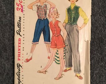 Vintage 1950s Simplicity Children's Clothing Pattern - Girls Size 7