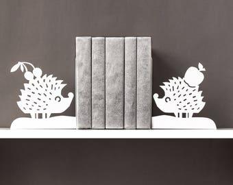 Hedgehog book ends Metal bookends Kids bookends Nursery bookends Woodland nursery decor Baby shower gift Book shelf - white
