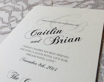 Printed Wedding Program, Monogram Wedding Program, Two sided Program