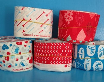 Moda Quilt Fabric Scrap Bags - AIRMAIL By The Comstocks - Over 1/2 LB of Fabric