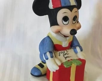 Walt Disney Productions Mickey Mouse Vintage Ceramic Christmas Figurine Giftware