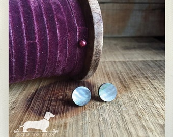 Silver Shell. Post Earrings -- (Vintage-Style, Simple, Grey, Gray, Small Studs, Shimmery, Neutral, Cute, Jewelry Under 10, Birthday Gift)
