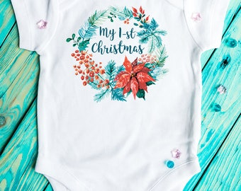 Christmas baby Bodysuit, My First Christmas, Christmas baby outfit, Baby Clothing, christmas outfit,  Christmas wreath