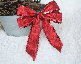 "Red Christmas Bow 6"" Across Ready Made Bow For Christmas Wreath Gift Wrapping Craft Supplies Gift Bow Wreath Bow"