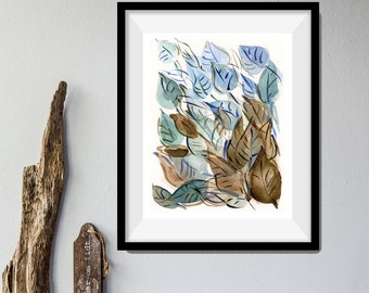 leaves art print, Abstract Leaves art print, Leaves watercolor print, modern art, home decor, leaves art, Teal, brown, contemporary art