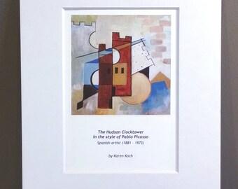 Pablo Picasso Version of the Hudson Ohio Clocktower, Cubism, 10x8 inches, Art Print, Matted, by Hudson Ohio Artist Karen Koch