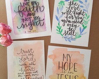 30 Days of Bible Lettering April 2018 Variety Card Pack - Art Prints - Hand Lettering - Watercolor Painting - Scripture Bible Verse Print