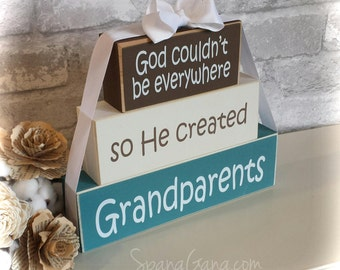 "Christmas Holiday Gift for Grandma Nana. Wood Block Stack: ""God couldn't be everywhere, so He created Grandma"" - Personalized Free"