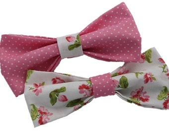 Pink Bloom Polka Dot dog bow|Wedding|Vintage|Retro|Hipster|Preppy|Spring|Summer|Floral girly pink|Gifts for dogs and dog lovers