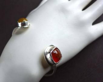 Cross Agate and Mandarin Sapphire Sterling Silver Cuff Bangle Bracelet, Jerusalem Stone Bracelet, Religious Christian Gemstone Jewelry