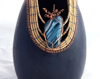 Tall Navy Gourd Coiled Rim with Blown Glass -Item 529 by Susan Ashley