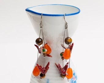 Origami earrings in red paper with carnelian and tiger eye beads OOAK