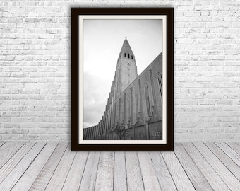 Iceland Print, Black and White Photography, Iceland Photography, Hallgrimskirkja, Iceland Art, Iceland Church