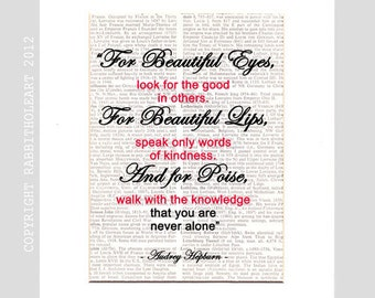 """Audrey Hepburn QUOTE art print """"For Beautiful eyes ..lips"""" wall decor poster typography on vintage Dictionary Book Page black pink 8x10, 5x7"""