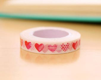 1 roll of thin masking tape heart / washi tape with hearts