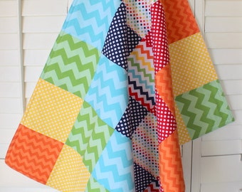 Baby Blanket , Nursery Decor, Baby Quilt, Baby Bedding, Baby Shower Gift, Patchwork Quilt, Rainbow, Navy Blue, Chevron, Rainbows