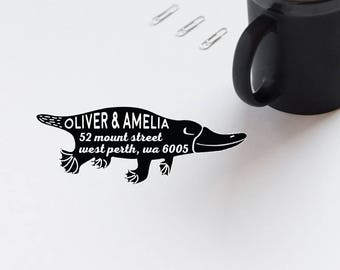 Return Address Stamp, Platypus Rubber Stamp, Personalized Address Envelope Stamp, Animal Stamp, Self Inking Custom Stamp  - CA762