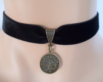 velvet choker, sagittarius choker, sagittarius necklace, stretch ribbon, black velvet, star sign, zodiac charm