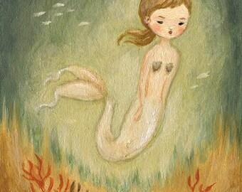 A Little Mermaid Print 8x10 - Mermaid Art, Coral, Green Blue, Nautical, Under The Sea, Nursery Art, Children's Art, Kids Art, Girl, Ocean