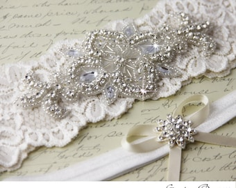 Ivory Lace Garter Set, Wedding Garter Set, Bridal garter Set, Rhinestone Garter, Ivory Garter set, White Lace Garter Set