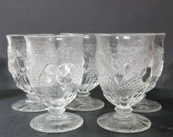 Vintage embossed fruit design wine goblets. Set of 5.
