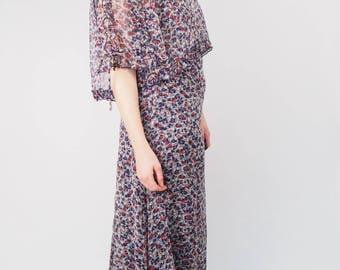 1960s VINTAGE DRESS - Vintage Dress - Floral Dress - Floral Maxi - Maxi Dress - Boho - Hippy - Designer Dress - Floral Maxi Dress - 1960s
