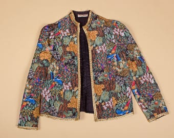 Stunning tropical-pattern women's jacket with gold trim