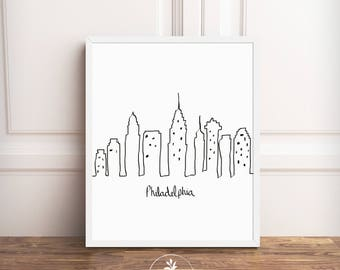 Philadelphia Skyline, black and white, Instant Download, Cityscape, Pennsylvania, printable poster by Faboomie