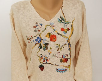 Hand Painted 100% Cotton Sweater - Art-to-wear-  'Tree of Life'-design on Natural Sweater