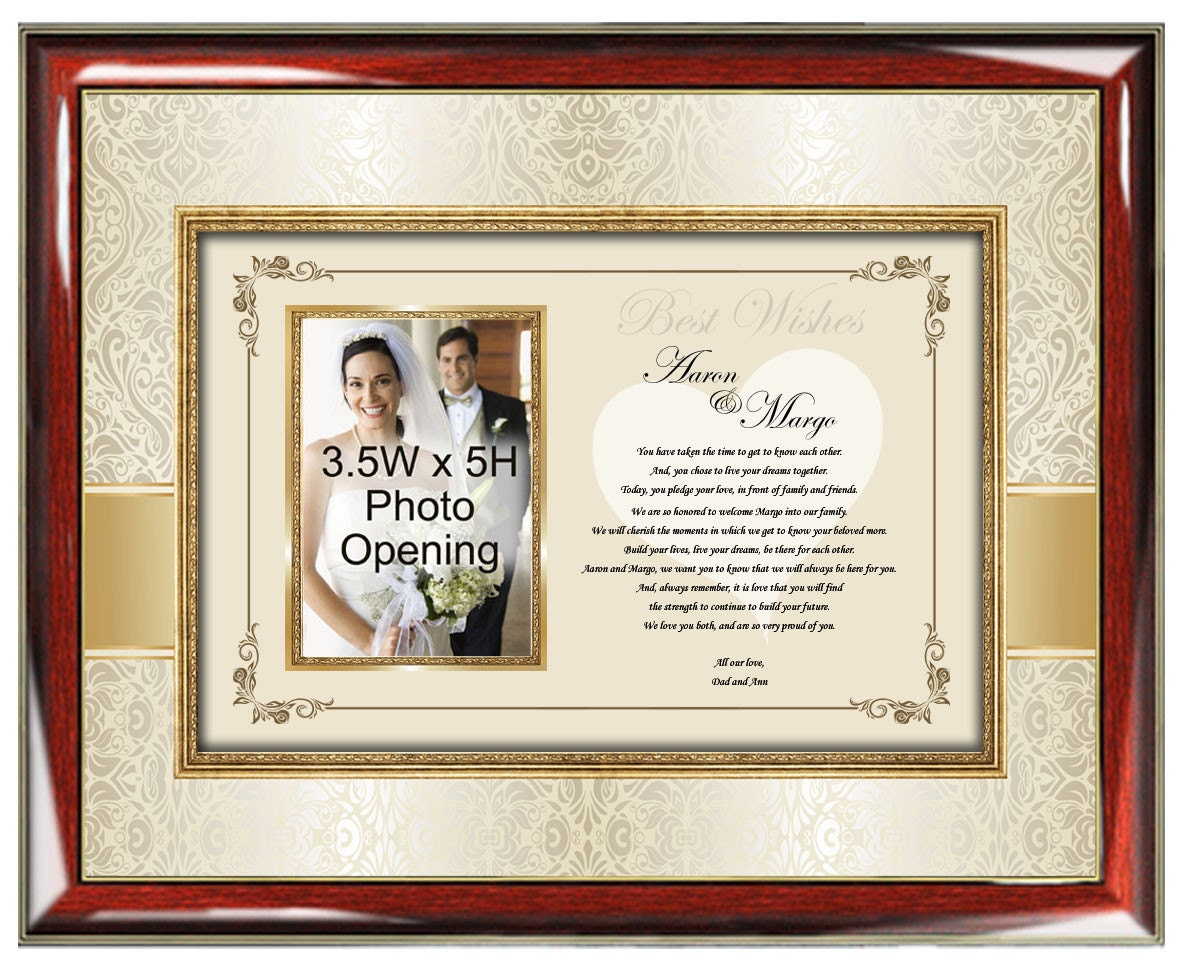 Parents Wedding Gift to Daughter or Son Frame Personalized Wedding ...
