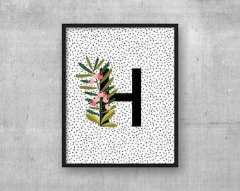 Baby nursery poster - Instant digital download - Monogram initial - Nursery art decor - Kids room wall art print - Initial - Letter H print