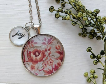 """Vintage Rose Pendant with """"Joy"""" word charm - vintage fabric, rose, floral jewelry, joy, word jewelry, handmade necklace, fabric"""