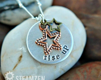 "Hamilton ""Rise Up"" Star-Studded Charm Necklace - Hamilton Fan - Hamilfan Gift"