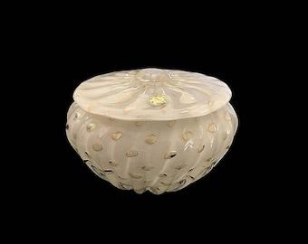 C.1950 Murano Alfredo BARBINI Cased White | Lattimo Bullicante Glass Jar | Covered Bowl