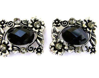 2 sparkly black 2 hole beads, rectangular black floral sliders, faceted glass, black diamond crystal