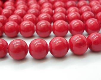 50 beads of jade 8 mm round cherry red jade