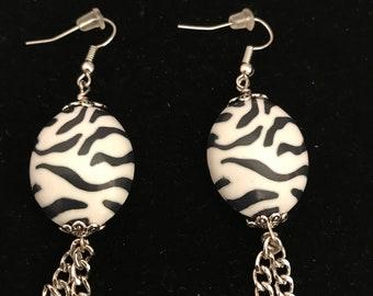 Zebra Earrings, Zebra Print Earrings, White and Black Earrings, Black Earrings, Animal Print Earrings, Cheap Earrings, Statement Earrings