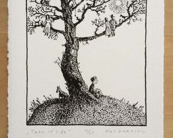 Tree of Life - Original Lithograph - by Alex Gerasev - Family Tree - Black and White Tree Print - Free Shipping