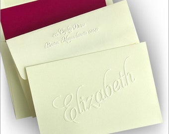 25 Embossed Notes, Personalized Fold Notes, Embossed Name Notes, Personalized Notes, Embossed Stationery|Classic Embossed Notes|2793