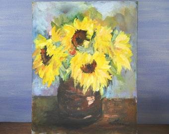 Sunflowers, original oil painting