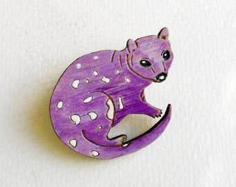 Quoll Brooch Australian Native Animal Wearable Art Conservation