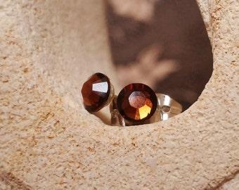 Smoked Topaz Swarovski Studs, Chocolate Brown Earrings