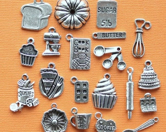 Deluxe Baking Charm Collection Antique Silver Tone 20 Different Charms - COL075