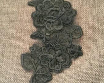 1 Piece BLACK Flower Venise Lace Applique Patch Sew On Collar
