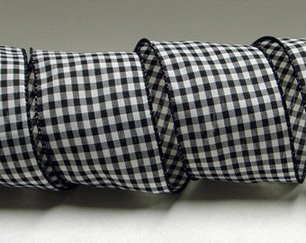 2-1/2 inch Wired Black & White Gingham Ribbon ~ Black and White Checks ~  3 Yards