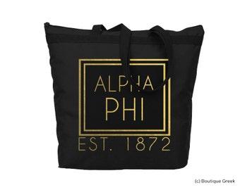 Alpha Phi Foil Frame Sorority Tote