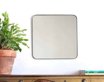 """Square Wall Mirror with Rounded Corners Cube Shaped Plain Simple Accent Metal Lead Frame 12"""""""