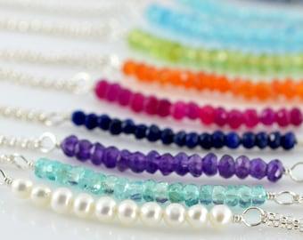 Gemstone Double Strand Bracelet - Sterling Silver, Semi Precious Gemstones, Ruby